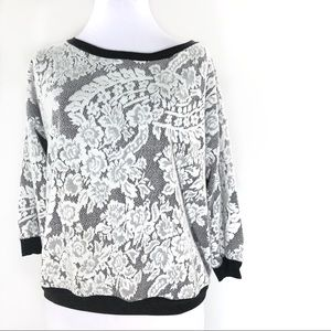 Bloomingdale's White Paisley Lace & Charcoal Gray